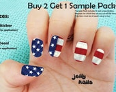 20 American Flag Full Nail Sticker Wrap Strips  (SALE: Buy 2 Get 1 FREE--read description for details) Listing Stats
