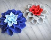 Felt Dahlia brooch pins or hair clips - Set of TWO - Custom Colors - sports teams, school colors,