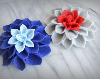 Felt Dahlia brooch pins or hair clips - Set of TWO - Custom Colors - sports teams, school colors,