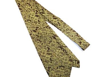 Rhodia Brown and Mustard Yellow Funky Design Necktie Vintage 1970s Mens Tie