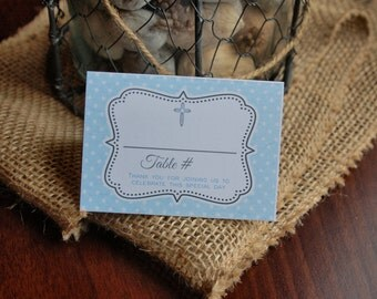 BAPTISM blue polka dot Place cards - tent cards by Just Scraps N Things