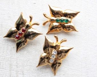 Vintage 1950's Brooch // 50s 60s Dainty Brass Butterfly Brooch // Rhinestone Butterflies