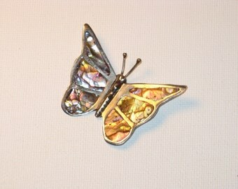 Vintage Mexico Sterling Silver Abalone Butterfly Brooch Pin  (B-1-3)