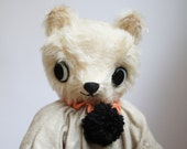 RESERVED Harlequin Bear a cream-colored mohair bear by foxandowl