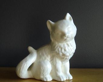 Kitty Vase - Vintage Matte Cream Animal Pottery Planter or Vase - Ceramic Cat Vase