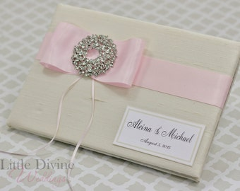 Wedding Guest Book and Ivory Pink Custom Made in your Colors