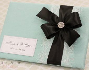 Aqua Blue Wedding Guest Book Black Ribbon Custom Made in Your Colors