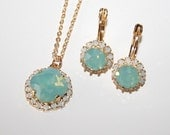 Mint White Opal Jewelry Set,Gifts for Wife,Mint Bridal Jewelry Set,Necklace Earrings,Opal Halo Crystal Swarovski Jewelry,Wedding Jewelry