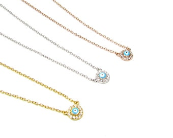 Tiny CZ Evil Eye Disc Necklace, Sterling silver, Gold or Rose gold Vermeil-- Cubic Zirconia Evil Eye Pendant