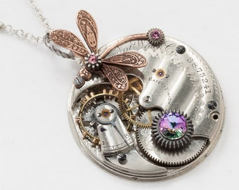 Steampunk Necklace Vintage Elgin silver pocket watch movement gears purple amethyst crystal pendant necklace copper dragonfly Statement Gift