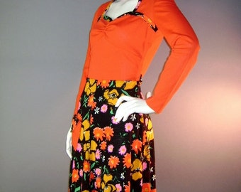 60s 70s dress 1960s 1970s vintage RED ORANGE FLOWERS black pink groovy dolly mini dress