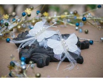 Wedding Hair Combs / Shoe Clips Stunning Butterfly & Pearls. Bridesmaid Bride Bridal Hair Clips, Spring Fashion Sophisticated Birthday Gift