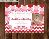 Heart Invitation, Valentine Birthday Invitation, Red and Pink Hearts, Red and Pink Invitation, Sweetheart Invitation, Heart Birthday Theme