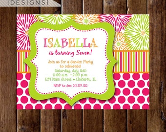 Bright Blooms and Dots Birthday Party Invitation- Photo option available - PRINTABLE INVITATION DESIGN