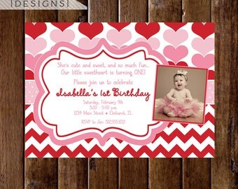 Heart Invitation, Valentine Birthday Invitation, Red and Pink Hearts, Red and Pink Invitation, Sweetheart Invitation, Heart Birthday Theme