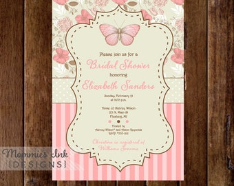 Vintage Flowers Roses Hydrangea and Butterfly Bridal Shower Invitation - PRINTABLE INVITATION DESIGN
