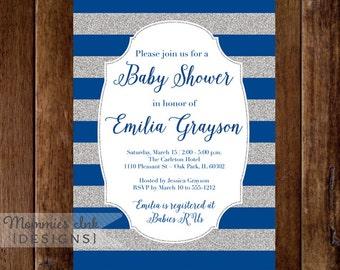Silver Glitter Baby Shower Invitation, Blue & Silver Stripes, Shower Invitation, Blue White and Silver Invitation, Glam Baby Shower Invite