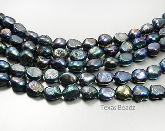 Black Pearls Flat Back Iridescent Peacock Freshwater Pearls Nugget Beads 11mm x 8mm Loose Pearl Beads