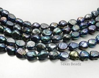 Black Pearls, Peacock Pearls, Nugget Pearls, 11mm x 8mm Flat Back Freshwater Pearls, Loose Pearls Beads