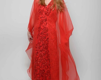 Vtg 70s 80s Stunning Sheer Angel Red Sequin Low Cut Halter Disco Groovy Bombshell Prom Maxi Dress S