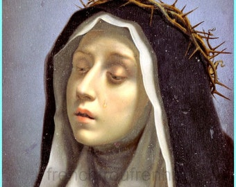 antique catholic religion illustration saint Catherine of siena by Carlo Dolci digital download