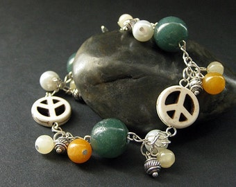 Hippie Bracelet. Peace Bracelet. Peace Sign Charm Bracelet. Gemstone Bracelet with Howlite, Orange Jade, and Aragonite. Handmade Jewelry.