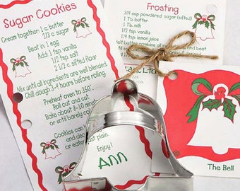 Cookie Cutter, Bell Cookie Cutter, Christmas Party, Cookie Swap Exchange, Holiday Party Favors, Baking Supplies, Recipe Card, Kids Baking