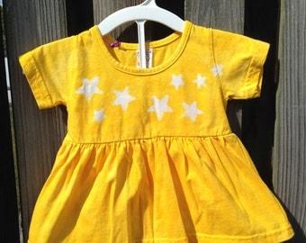 Yellow Stars Baby Dress Set (12 months), Baby Girls Dress and Diaper Cover Set, Yellow Baby Girls Dress Set, Yellow Baby Shower Gift