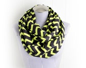 Bright Yellow Green and Black Chevron Flannel Infinity Scarf, Striking Zig Zag winter Accessory