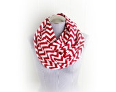 Red and White Chevron Flannel Infinity Scarf In Red