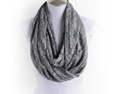 Gray Speckled Infinity Scarf, Stretchy Knit Animal Dot Print