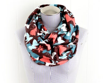 Leaves and Butterflies Infinity Scarf, Cozy Flannel in Coral, Aqua and Teal