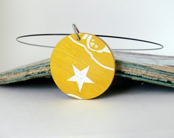 Recycled Skateboard Jewelry Handmade Necklace Pendant-Blue, Pink, Yellow White Star Wooden Reversible Pendant