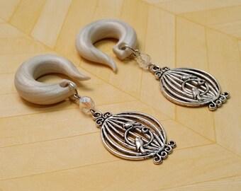 Silver Bird Cage Gauged Earring Plugs
