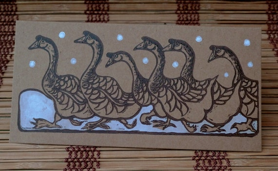 Pack of 2 hand-made, linocut Christmas Cards.  6 Geese A Laying