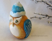Woodland Owl Christmas Ornament in orange and teal