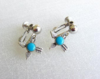 Sterling Silver Earrings Dangle, Turquoise Earrings, Sterling JP Arrow Earrings, Native American Turquoise Earrings, Native American Jewelry