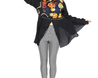 80s 90s Sheer Sleeve Blouse Black Abstract Print Long Sleeve Crop Top Fly Girl Fringe Beads Hip Hop Club Kid Evening Shirt (L)