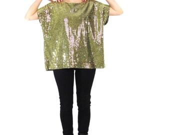 70s 80s Gold Sequin Top Disco Glam Lurex Shirt Slouchy Oversize Blouse Short Sleeve Tank Metallic Studio 54 Party Shirt Gold Tshirt (S/M/L)