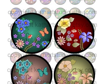 Instant Download - Floral Digital Collage Sheet - 1 inch circles for bottlecap pendant stickers, tiles, magnets, bows 44A