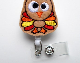 Timmy the Turkey - Retractable ID Badge Reel - Name Badge Holder - Thanksgiving Badge - Nurse Badge Holder - Nursing Badge Clip - Felt Badge