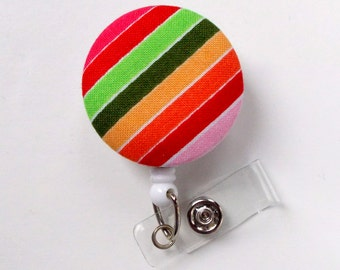 Colorful Stripe Fabric Button Badge Reel - Nurse Badge Holder - Nursing Badge Reel - Retractable ID Badge Reel - Teacher Badge - Nurse