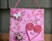 Mixed Media Heart Ornament Hugs and Kisses Twine Heart Canvas XO Twine Heart Assemblage Decoration Pink Hearts and Flowers Decorative Plaque