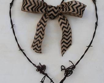 handmade hand made barbed/barb wire heart with burlap ribbon hanging wall decor