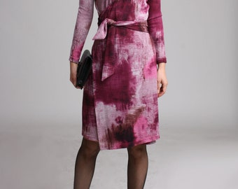 SAMPLE SALE / Knit Wrap Dress with Long Sleeve, Winter Dress, Dusty Pink Winter Dress, Knit Dress - Fuchsia and Maroon mottled print