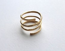 Hammered Gold Ring, Gold Spiral Ring, Hammered Silver Ring, Modern Gold Ring, Spiral Ring by m. frances