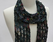 Cotton & Rayon Scarf/ Hand Knit/ Black, Mauve/ Merlot/ Green/ Blue