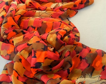 Chiffon Scarf Shawl, Orange Red Brown Squares Print, Overlaid Fall Leaf Designs, Hand-Rolled Hem, 70s 80s