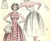 Butterick 6141 / Vintage 50s Sewing Pattern / Halter Dress And Bolero Jacket / Size 16 Bust 34