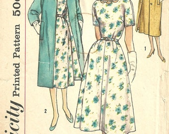 Simplicity 2421 Vintage Slenderette Sewing Pattern // Dress And Coat Size 16 Bust 36